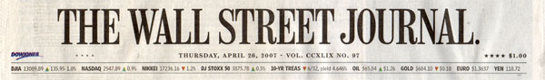 Wall Street Journal 4-26-2007 masthead