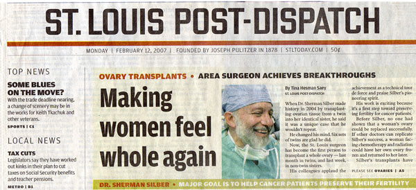 St. Louis Post-Dispatch coverage of ovary transplantation between non-twin sisters