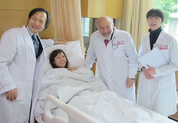 Dr. Silber, Dr. Zhang and Dr. Liang with ovary transplant recipient.